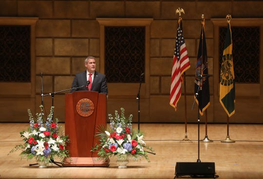 Monroe County Executive Adam Bello delivers his inaugural address after taking his oath of office.