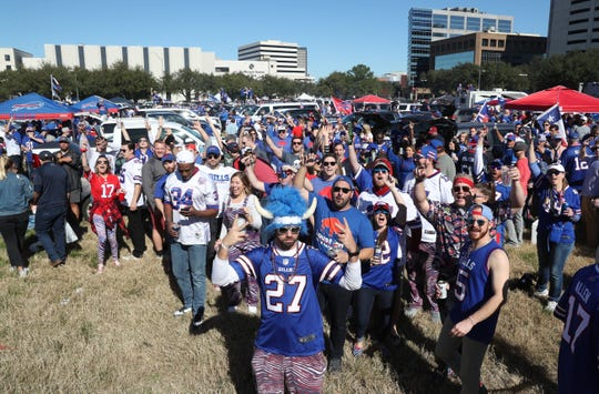 A large following of Bills fans gather for a party before taking on the Texans in an AFC playoff game.