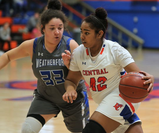 San Angelo Central High School's Layla Young drives the ball against Weatherford in a District 3-6A game at Babe Didrikson Gym Friday, Jan. 3, 2020.