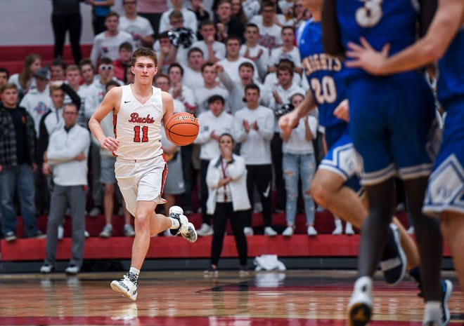 Yankton's Cooper Cornemann (11) dribbles down the court during the game against O'Gorman on Friday, Jan. 3, 2020 at Yankton High School.