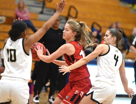 Riverheads' Savanna Crawford looks to pass the ball in a win over Monticello at the Play for Preemies Showcase Saturday, Jan. 4.