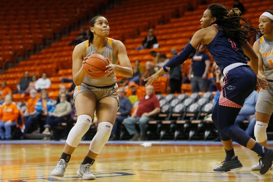 UTEP's Ariana Taylor goes against Florida Atlantic defense during the game Saturday, Jan. 4, at the Don Haskins center in El Paso.