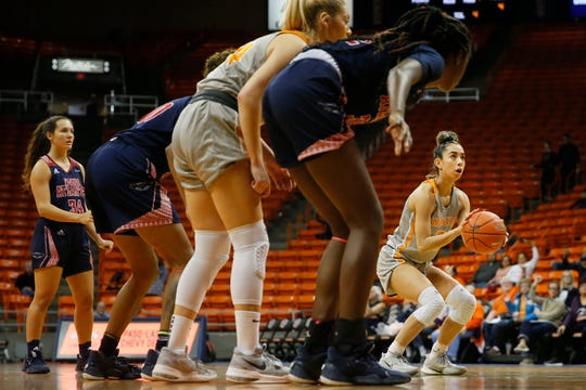 UTEP's Katia Gallegos shoots a free throw during the game  against Florida Atlantic on Saturday, Jan. 4, 2020, at the Don Haskins Center in El Paso.