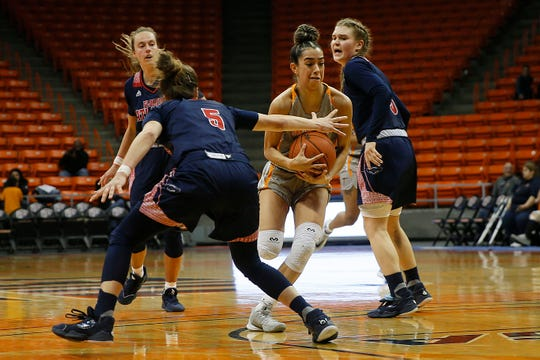 UTEP's Katia Gallegos goes against Florida Atlantic defense during the game Saturday, Jan. 4, at the Don Haskins Center in El Paso.