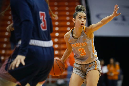 UTEP's Katia Gallegos talks to the team during the game against Florida Atlantic on Saturday, Jan. 4, 2020, at the Don Haskins Center in El Paso.