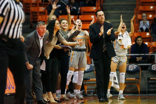 UTEP's sideline celebrates during the game against Florida Atlantic Saturday, Jan. 4, at the Don Haskins center in El Paso.