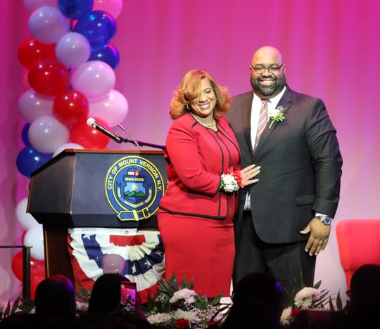 Mount Vernon Mayor Shawyn Patterson-Howard, stands with her husband Marvin after her Inauguration at Nellie A. Thornton High School in the city, Jan. 4, 2020.