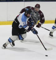 CJ Olsen carries the puck for Suffern during a 5-3 win over Don Bosco at Sport-O-Rama Jan. 3, 2020.