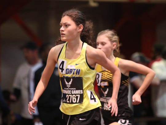 North Salem's Ava Jolley runns a 10:16.38 second place time in thr girls 3000-meter during the US Air Force Hispanic Games at The Armory New Balance Track & Field Center in New York on Saturday, January 4, 2020.