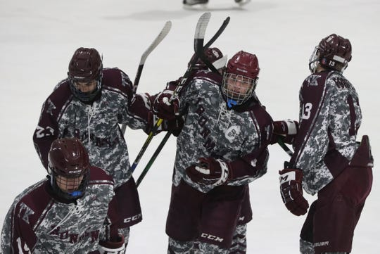 Don Bosco players celebrate one of their goals during a 5-3 loss to Suffern Jan. 3, 2020 at Sport-O-Rama.