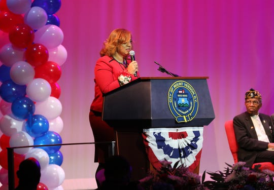 Mount Vernon Mayor Shawyn Patterson-Howard delivers her address during her Inauguration at Nellie A. Thornton High School in the city, Jan. 4, 2020.