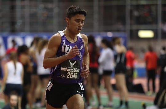 New Rochelle's Tristan Marine runs the 2-mile during the US Air Force Hispanic Games at The Armory New Balance Track & Field Center in New York on Saturday, January 4, 2020.