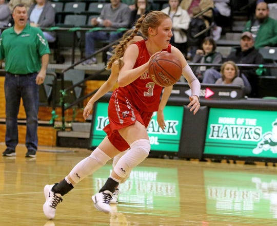Holliday's Sarah Cowan drives to the basket against Iowa Park Friday, Jan. 3, 2020, in Iowa Park.