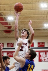 Crooksville's Caden Miller puts up a shot against West Muskingum. The Ceramics earned the No. 8 seed in the Division IV sectional tournament draw in the Southeast District.