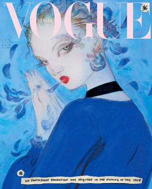 The illustration of the Vogue Italy's January issue cover. Instead of having photo shoots, Vogue Italia's January edition is printed with illustrations from seven famous artists, to reduce the environmental impact of the production of a fashion magazine.