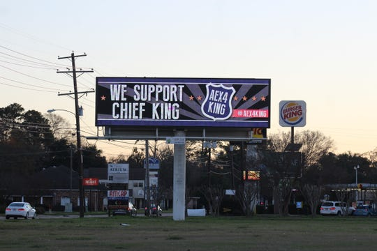A message on an electronic billboard near the Jackson Street and Versailles Boulevard intersection shows support for Chief Jerrod King, who was placed on leave Friday.