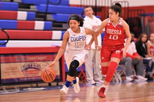 Cooper's Kyla Speights (13) runs down the court against Odessa High on Jan. 3 at Cougar Gym. The Lady Cougars won 49-35.