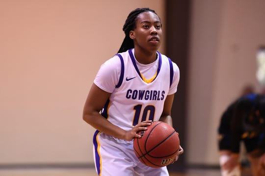 Taylor Gaffney (10) looks at the basket before taking a free throw during the 78-65 win against LeTourneau earlier this season. The Cowgirls are tied for first in the ASC West heading into the final two games of the regular season.