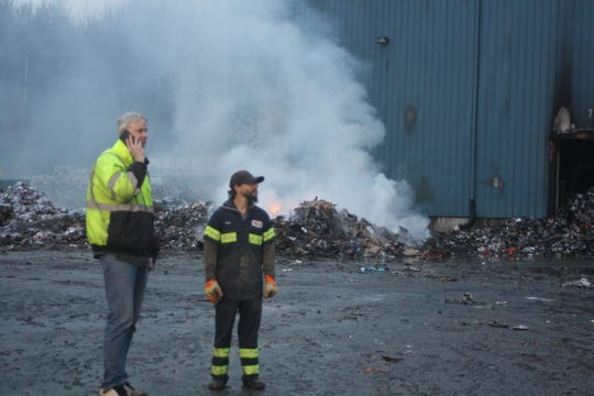 A dozen or so agencies in Broome and Tioga counties responded to a fire at Taylor Garbage's recycling plant in Apalachin, which first broke out on Jan. 3, 2020 and continued to burn on Jan. 4.