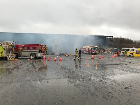 A fire destroyed Taylor Garbage's recycling facility in Apalachin, pictured on Jan. 4, 2020.