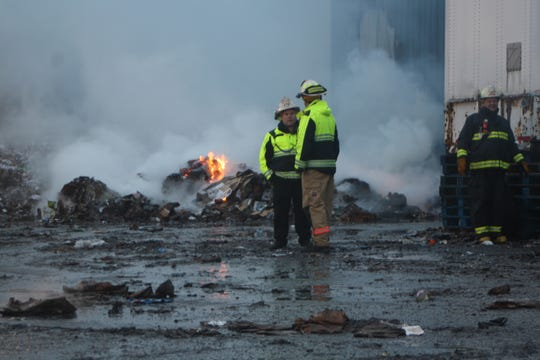 Recycled goods continued to burn at Taylor Garbage's Apalachin recycling plant on Jan. 4, 2020, about 24 hours after the fire was first spotted.