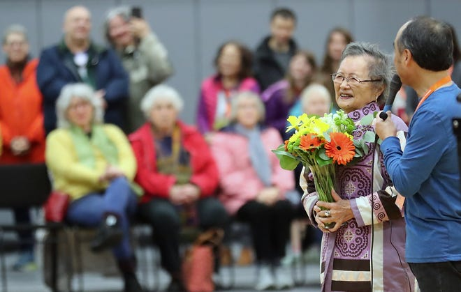 FILE PHOTO - Kay Sakai Nakao, who turned 100 on Dec. 13, 2019, was honored at this year's Mochi Tsuki Festival on Bainbridge Island. As a young woman, she was interned with her family at the Minidoka War Relocation Center in Idaho. The family returned to the island after the war to rebuild their lives.