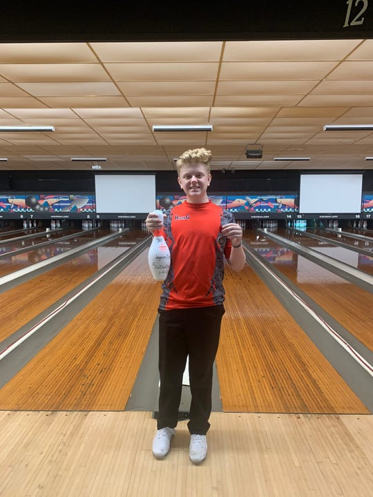 Marion Harding's Jayden Combs was the top individual after bowling a perfect 300 in his final game.