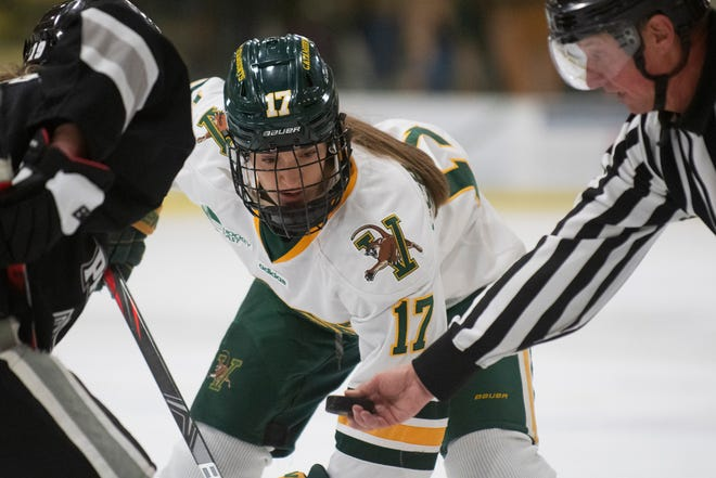 Vermont's Theresa Schafzahl (17) waits for the face off during the women's hockey game between the Providence Friars and the Vermont Catamounts at Gutterson Field House on Saturday afternoon January 4, 2020 in Burlington, Vermont.