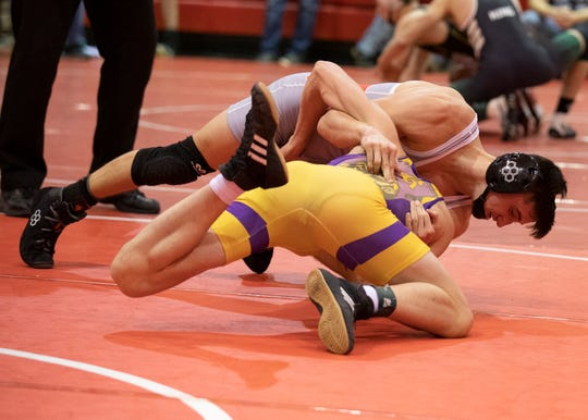 Westfall's Chanston Moll got his 100th win after defeating Reynoldsburg's Logan Smalley in the 126-pound final match at the Logan Elm Wrestling Invitational on Jan. 4, 2020, in Circleville, Ohio.