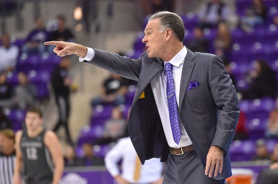 Jan 4, 2020; Fort Worth, Texas, USA; TCU Horned Frogs head coach Jamie Dixon leads his team during the first half at Ed and Rae Schollmaier Arena. Mandatory Credit: Tim Flores-USA TODAY Sports