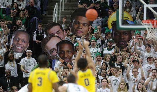 Michigan State fans during the second half of MSU's 87-69 win over U-M on Sunday, Jan. 5, 2020, in East Lansing.