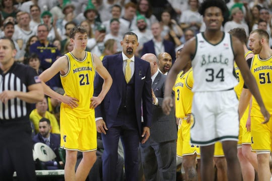 Michigan coach Juwan Howard on the bench during the second half of MSU's 87-69 win over U-M on Sunday, Jan. 5, 2020, in East Lansing.
