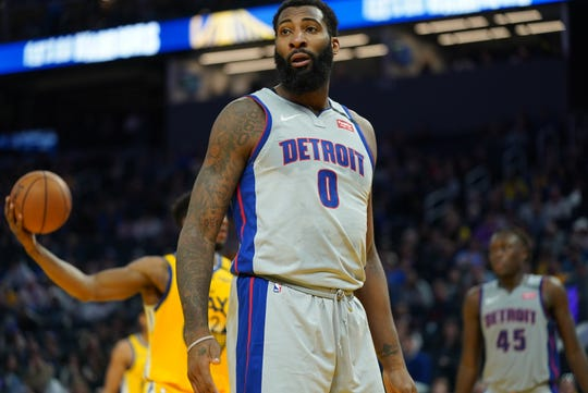 Detroit Pistons center Andre Drummond (0) reacts after being called for the foul during the fourth quarter against the Golden State Warriors at Chase Center on Saturday, Jan. 4, 2020, in San Francisco.