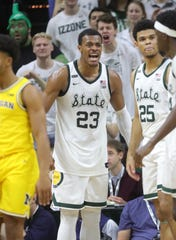 Michigan State forward Xavier Tillman encourages his teammates during the second half of MSU's 87-69 win over U-M on Sunday, Jan. 5, 2020, in East Lansing.