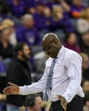 Bennie Seltzer, University of Evansville's interim head coach, reacts as a foul is called on his team during overtime against the Valparaiso Crusaders at Ford Center in Evansville, Ind., Saturday, Jan. 4, 2020. The Purple Aces fell 81-79 to the Crusaders in overtime.