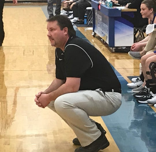 Fairfield head coach Dustin Gordon surveys the action as his Fairfield Eagle girls face Great Falls Central at the Mustangs' gym Saturday.