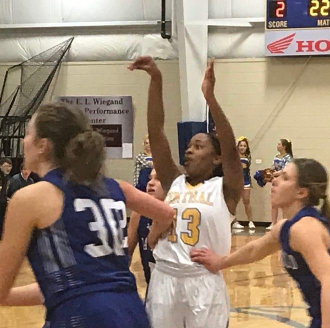 Great Falls Central's Sareya Hicks (13) follows through on her jump shot in Saturday's game against Fairfield.
