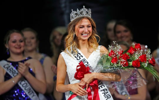 Miss Vanderburgh County Claudia Duncan is chosen as Miss Indiana State Fair 2020 during the 62nd Annual Indiana State Fair Queen Pageant, Sunday, Jan. 5, 2020.