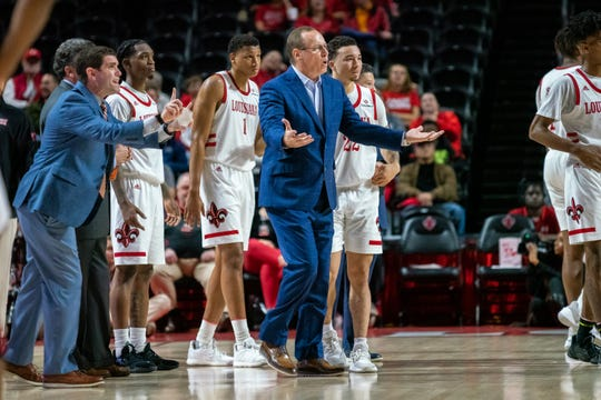 The coronavirus crisis has in-person recruiting on hold for UL basketball coach Bob Marlin, shown here during a January game against Little Rock at the Cajundome, and other Ragin' Cajuns coaches.