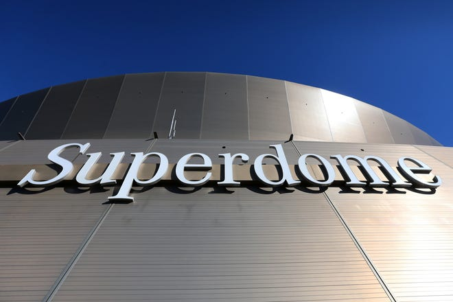 Jan 5, 2020; New Orleans, Louisiana, USA; The exterior of the Mercedes-Benz Superdome is seen before a NFC Wild Card playoff football game between the New Orleans Saints and the Minnesota Vikings. Mandatory Credit: Chuck Cook -USA TODAY Sports