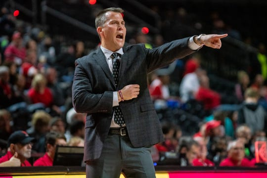 Troy's head coach Scott Cross directs his players from the sidelines as the Ragin' Cajuns take on the Troy Trojans at the Cajundome on Saturday, Jan. 4, 2020.