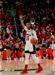 Louisville's Jazmine Jones celebrates as the clock runs down during their defeat of Duke on Jan. 5, 2020.