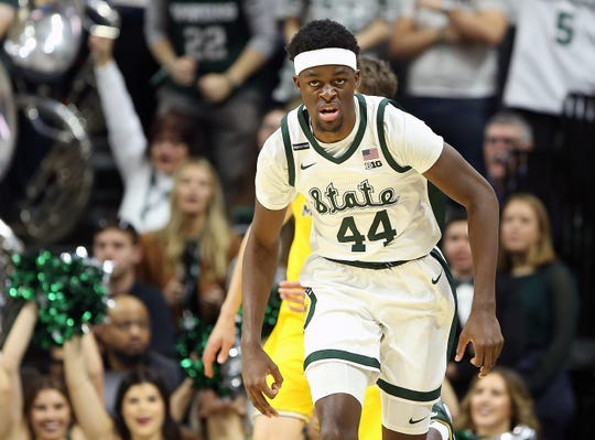 Jan 5, 2020; East Lansing, Michigan, USA;  Michigan State Spartans forward Gabe Brown (44) reacts to a made three point basket during the first half a game against the Michigan Wolverines at the Breslin Center. Mandatory Credit: Mike Carter-USA TODAY Sports