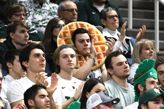 Waffle Guy, aka Nate Guzowski, attended the Michigan State vs. Michigan men's basketball game in East Lansing, Michigan, on Sunday, Jan. 5, 2020.