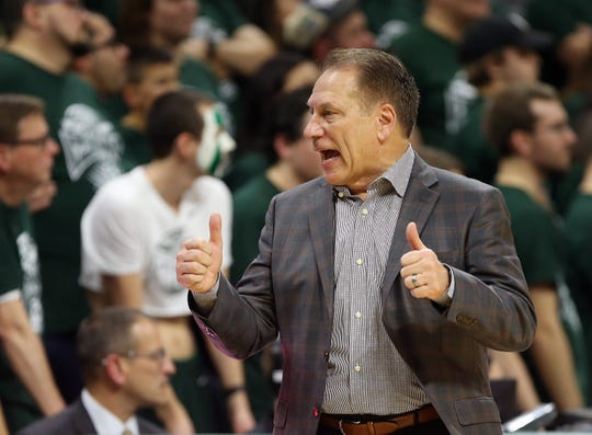Jan 2, 2020; East Lansing, Michigan, USA; Michigan State Spartans head coach Tom Izzo gestures during the second half of a game against the Illinois Fighting Illini at the Breslin Center. Mandatory Credit: Mike Carter-USA TODAY Sports