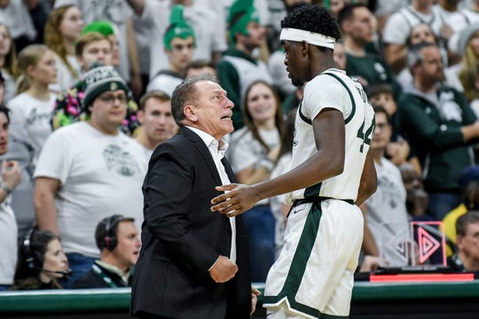 Michigan State's head coach Tom Izzo has words with Gabe Brown during the second half on Sunday, Jan. 5, 2020, at the Breslin Center in East Lansing.