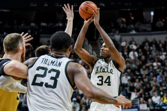 Michigan State's Julius Marble shoots during the second half on Sunday, Jan. 5, 2020, at the Breslin Center in East Lansing.