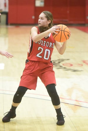 Norfork's Eva Maple looks for an open teammate during action earlier in the week against Lead Hill at North Arkansas College in Harrison.