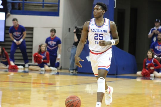 Louisiana Tech senior point guard DaQuan Bracey (25) brings the ball up the court against Southern Miss on Saturday, Jan. 4, 2020, at the Thomas Assembly Center in Ruston, Louisiana.