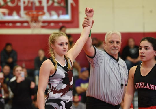Izabello Frezzo of Becton beat Anastasia Regalado of Lakeland in the 107 pound final match during the Bergen County girls wrestling tournament at Elmwood Park High School in Elmwood Park on 01/05/20.